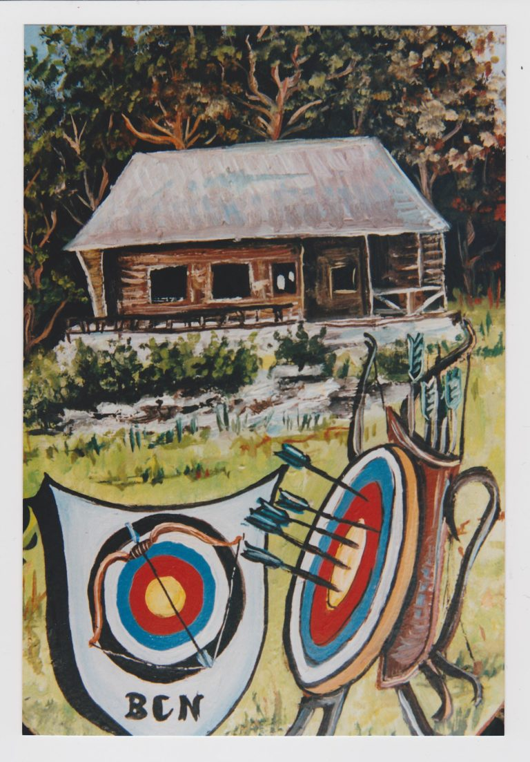 Tradition Bogensport / altes Bild des BSC mit der Vereinshütte